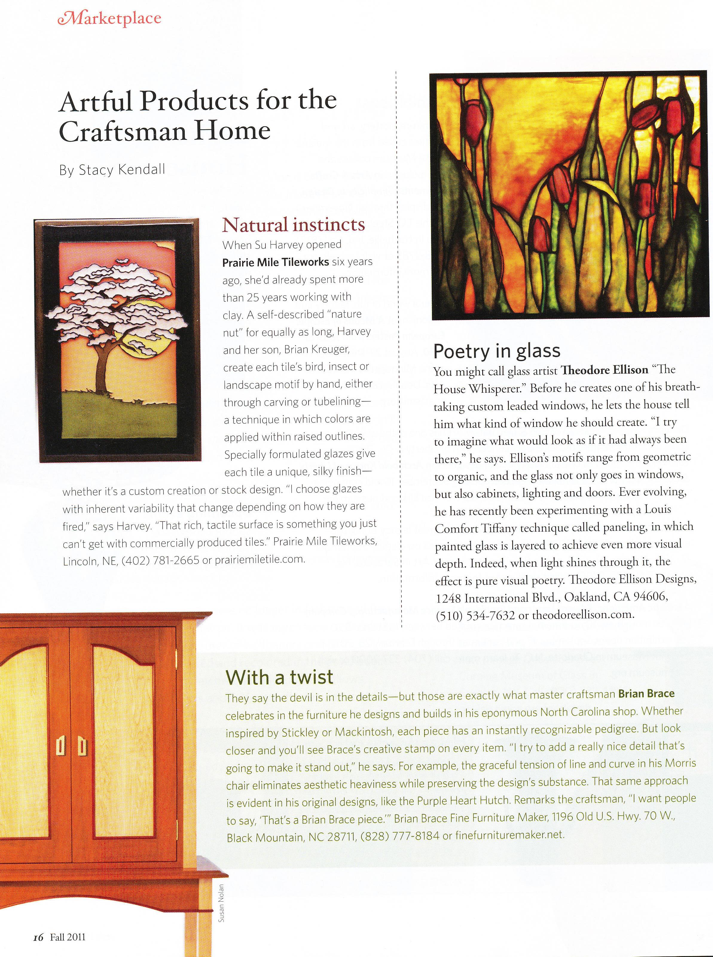 Brian brace fine furniture maker Arts and crafts home magazine